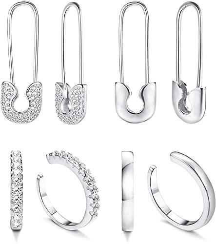 CASSIECA 4 Pares de Aretes Safety Pin Para Mujer Pendiente Paperclip Ear Cuff Conjunto de Pendientes de Aro Colgantes Con CZ