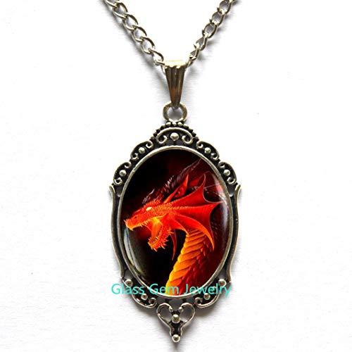 Roter Drachen-Anhänger, roter Drachen-Halskette, dunkler Drachen-Schmuck, Drachen-Halskette, Herren-Halskette, Q0106