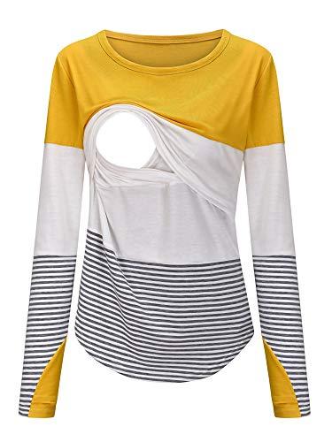 Sexy Dance Kobiety macierzyńskie karmiące piersią T-shirt w paski tunika z długim rękawem topy