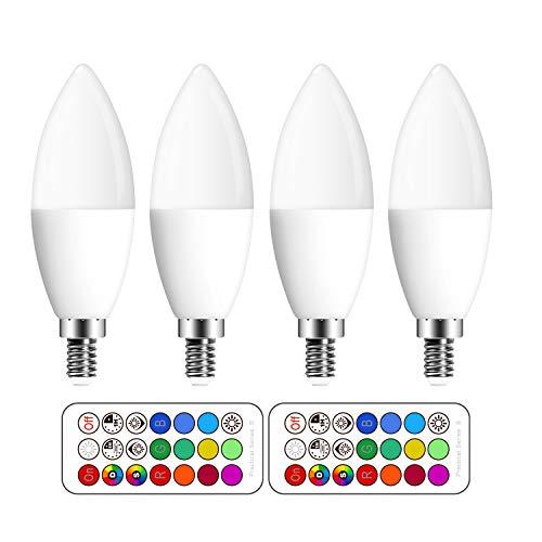 (4 Pack)LED RGBW Lampen, Ersetzt 50W E14 Glühlampen Dimmbar Glühbirne, inklusive Fernbedienung, Farbwechsel Lampen, E14 LED Birnen, E14 LED Leuchtmittel