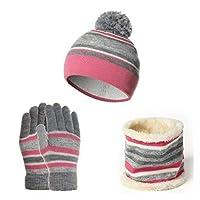 帽子 キッズウィンター帽子スカーフグローブキットコットンウール糸ニットポンポム帽子暖かいビーニースカーフグローブコットンスリーピースウォームセット (Color : Pink)