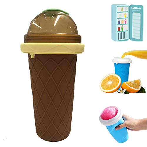 ZZJCY Taza Batidos Congelados Rápidamente 300 Ml Capacidad, Fabricante Helados Bricolaje para Summer Cool, con Paja Y Cuchara, Botella para Jugo Frutas Coca Leche,Marrón