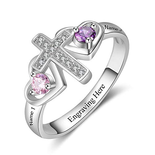 Personalized Cross Ring for Women Engravable 2 Simulate Birthstones Mothers Cross Rings Promise Rings (6)