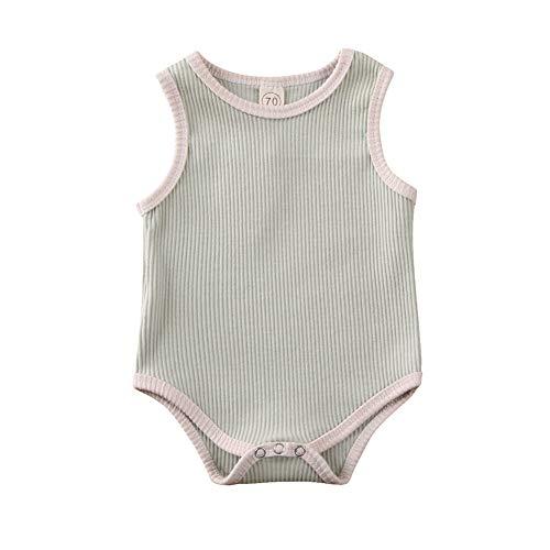 Geagodelia Neugeborenes Baby Strampler Mädchen 0-6 Monate Bodys Ärmellos Jungen Romper Unisex Overalls onhe Ärmel Sommer Bekleidung Outfit (Grün, 9-12Monate)