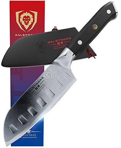 """DALSTRONG Santoku Knife - Shogun Series - Small - Japanese AUS-10V Super Steel - (Vacuum Heat Treated) 67 Layers- 5"""" (130mm) - Guard Included"""