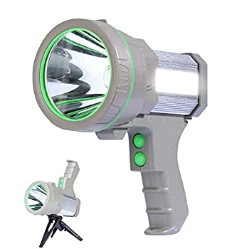 Eornmor Powerful Rechargeable LED Spotlight Flashlight 6000 Lumens Super Bright Waterproof Portable Handheld Searchlight Floodlight Lantern,Stand included,9000Mah  Silver