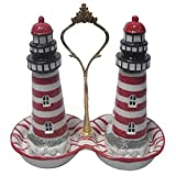 Green Pastures Wholesale Tray Red White Lighthouse Porcelain Salt and Pepper Shakers, 5-Inch Tall and 7-Inch