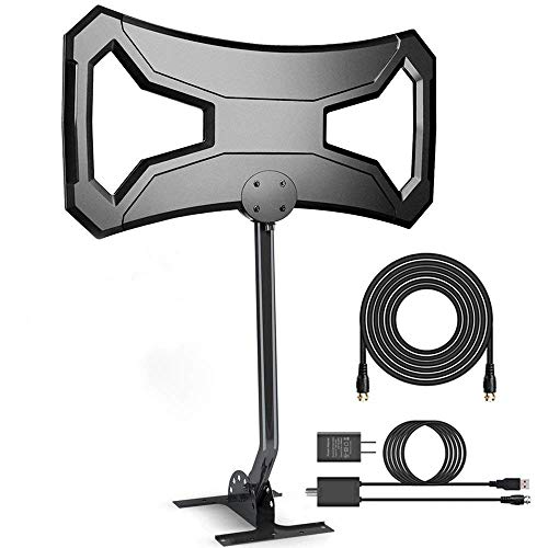 150Miles Ultra Amplified Outdoor TV Antenna[Newest 2019] Digital HDTV Antenna Free Signals Support 4K/1080p/All Older TVs with Mounting Pole/33Ft RG6 Coax Cable/AC Adaptor (Directional)