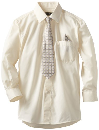 American Exchange Little Boys' Little Dress Shirt With Tie And Pocket Square, Off White, 6