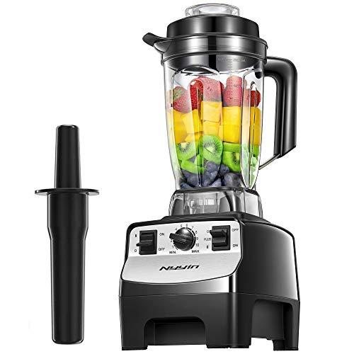 Standmixer Smoothie Maker, Nyyin 2000W 2L hochleistungs mixer, 39,000 U/min, Tritan-Behälter BPA-Free Edelstahl blender glas 10 Geschwindigkeitsstufen, Deckel mit Nachfüllöffnung, Impuls-/Ice-Crush