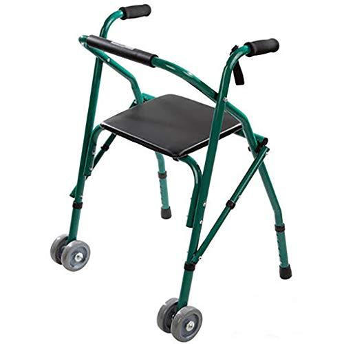 Lattice Andador Andadores Plegables De AleacióN De Aluminio + 2 Ruedas + CojíN CóModo, Personas Mayores con Discapacidad, Altura Ajustable Auxiliar para Caminar - Verde