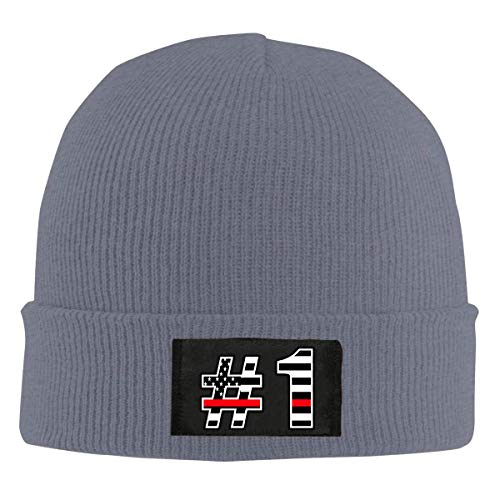 ZhangYu Casquette en laine The Thin Red Line Flag with Number One Adult Plain Skull Beanie Dance Toboggan Hat Warm Knit Cap