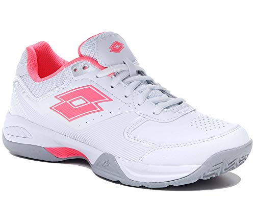 Lotto Space 600 Allcourt Damen Tennisschuh Weiss pink Silber (40 EU, All White/Vicky pink/Silver Metal)