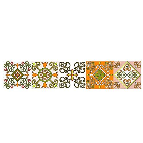 Pegatinas de azulejos de estilo nórdico impermeables pegatinas de pared DIY autoadhesivas extraíbles retro cuadrados para decoración de muebles de cocina baño 10 cm x 50 cm x 1 pieza