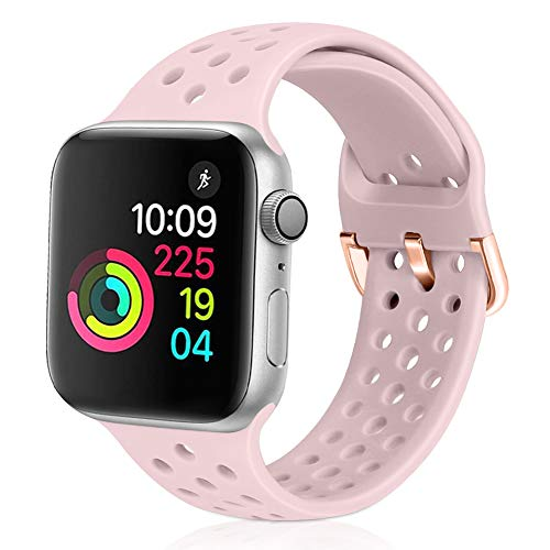 watch with pink bands XFYELE Compatible with Apple Watch Band 38mm 40mm, Soft Breathable Sport Silicone Replacement Strap Compatible for iWatch Series 6, 5, 4, 3, 2, 1 for Women and Men (Pink Sand, 38mm/40mm)