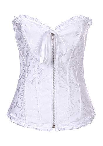 EFOFEI Corsetto da donna da cortile, corsetto regolabile con lacci stampati, sexy, cintura Cerniera bianca m