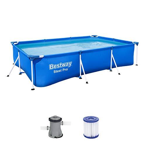 Bestway 56411 Steel ProPool-Piscina con Marco de Acero y Bomba de Filtro (300 x 201 x 66 cm), Azul