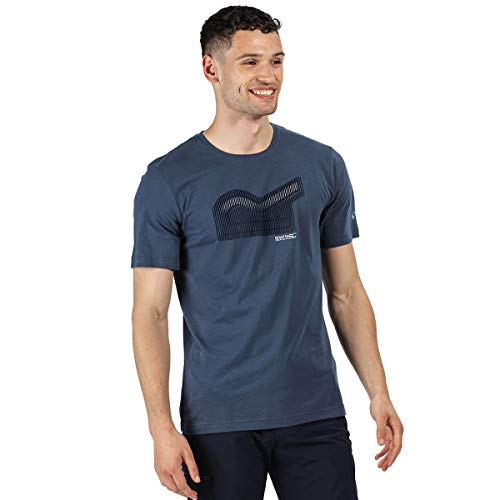 Regatta Breezed-Camiseta Deportiva Estampada De Algodón Y Manga Corta T-Shirts/Polos/Vests, Hombre, Dark Denim, L