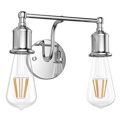 Aipsun Modern Wall Sconce Lighting Fixtures Chrome Bathroom Vanity Light 2 Lights Industrial Vanity Lighting Fixtures(Exclude Bulb)