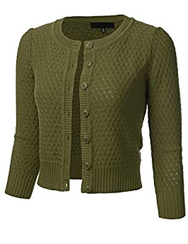 FLORIA Women s Button Down 3/4 Sleeve Crew Neck Cotton Knit Cropped Cardigan Sweater Olive XL