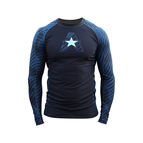 Anthem Athletics New HELO-X Ranked Competition Long Sleeve Rash Guard Compression Shirt - BJJ (IBJJF Approved) & MMA - Blue - Small