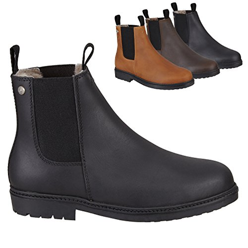 Chelsea Boot »NEW WORK WINTER« bequeme Stiefelette aus Rindsleder Made in Portugal | Echtfell | Reitschuh mit robuster Gummisohle | Schuh Schlupf Stiefel in Gr. 35-46 | Schwarz, Braun & Cognac