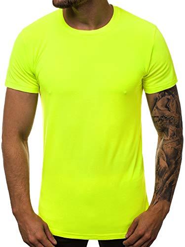 OZONEE Herren T-Shirt T Shirt Tshirt Kurzarm Kurzarmshirt Tee Top Sport Sportswear Rundhals U-Neck Rundhalsausschnitt Unifarbe Basic Einfarbig O/181227X GELB-NEON M