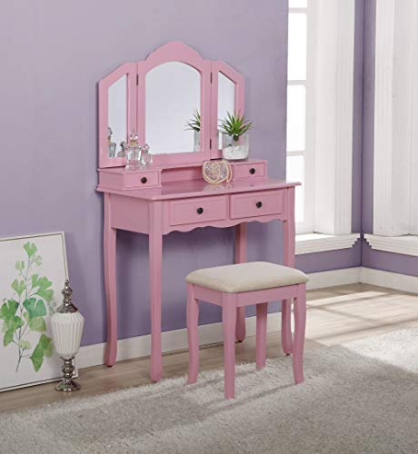 Roundhill Furniture Sanlo Wooden Vanity | Make Up Table and Stool Set | Pink