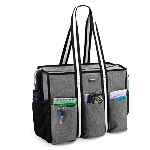 "Trunab Teacher Utility Tote Bag with Multiple Pocket and Large Compartment for up to 15.6"" Laptop, Zip Top Carrying Bag for Working Women, Travel, School, Office, Business, Grey"