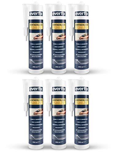 EVERFIX Montagekleber transparent (6 Stück) für innen und außen, extra starker Kraftkleber für Metall, Holz, Fliesen, etc, Baukleber zum Kleben und Abdichten, 325 g / 290 ml