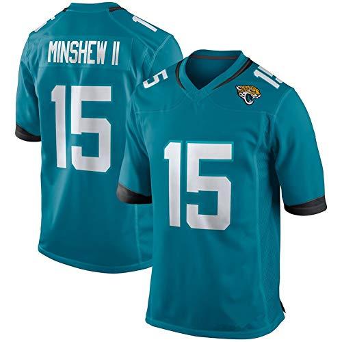 NIDAYE Herren American Football Rugby Trikot Jacksonville Jaguars Gardner Minshew #15 Fan American Football Jersey Swingman Edition Jersey Sportswear Sport Top T-Shirt Gr. L (80/85kg), grün