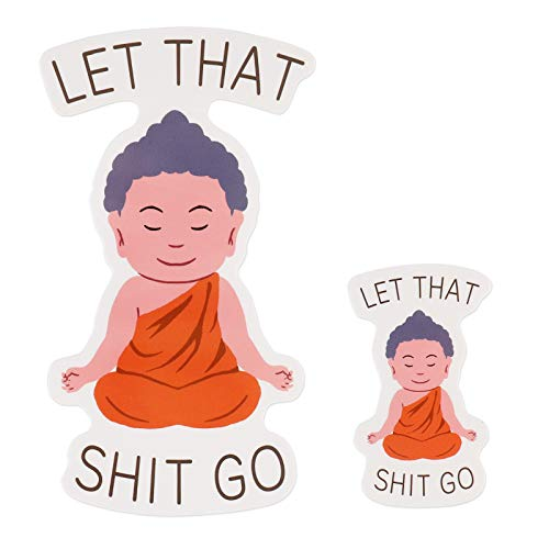 2PCS Let That Shit Go Stickers Meditating Buddha Meditating Stickers Cute Funny Stickers for Laptop Water Bottle Cup Phone Car Window Wall 4 Inch and 2 Inch funnystickers Decals