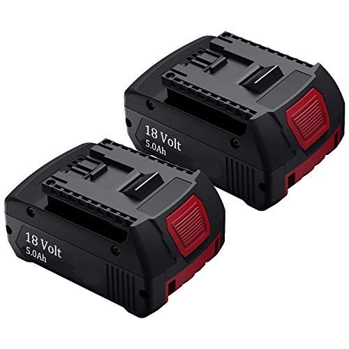 2Pack 5.0Ah BAT609 Battery for Bosch, 18V Li-ion Replacement Battery for Bosch BAT609G BAT618 BAT618G BAT619 BAT619G BAT622 BAT620-2PK SKC181-202L