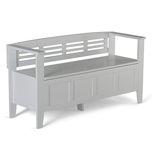 Simpli Home Adams SOLID WOOD 48 inch Wide Entryway Storage Bench with Safety Hinge, Multifunctional, Rustic, in White