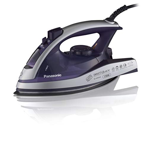 Panasonic Dry and Steam Iron with Alumite Soleplate, Fabric Temperature Dial and Safety Auto Shut Off – 1700 Watt Multi Directional Iron – NI-W950A (Silver/Violet)