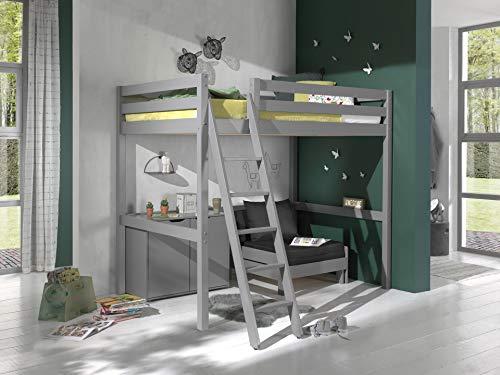 Vipack - Letto a soppalco con superficie di appoggio, 140 x 200 cm, con letto e cassettiera con 2 ante in legno di pino massiccio laccato grigio
