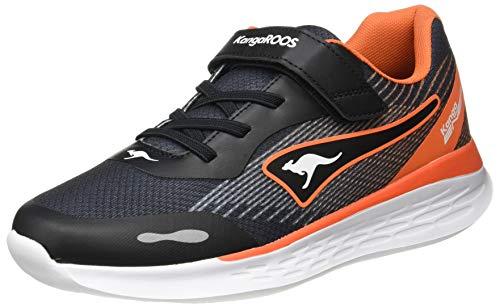 KangaROOS Unisex-Kinder KQ-Swift EV Sneaker, Jet Black/Neon Orange 5075, 31 EU