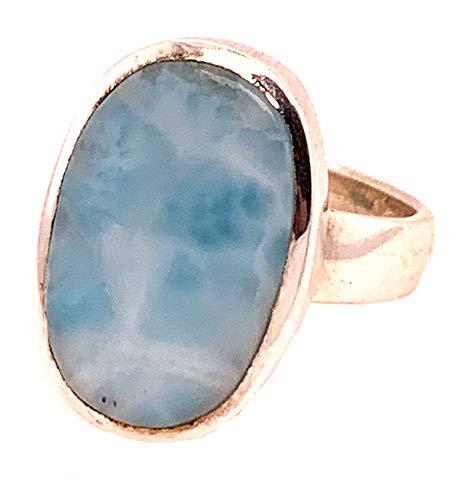 Bonito anillo Larimar de plata 925, regalo perfecto para mujer.