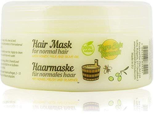Pure Skin Formula 100% Natürliche Haarmaske mit Honig, Milch, Jojoba und Olivenöl. Pflegende, tonisierende und feuchtigkeitsspendende Haarbehandlung, 250 ml.