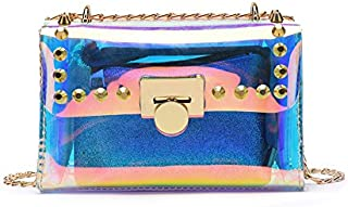 New Women's Shoulder Bag Laser Jelly Bag Filmy Bag Chain Shoulder Messenger Bag Raincoat Women's Crossbody Bag, Light Wallet and Handbag Sh (Color : Clear, Size : S)