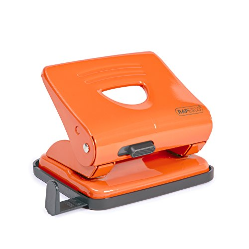 Rapesco 825 - Perforadora metálica de 2 agujeros, 25 hojas capacidad, color naranja