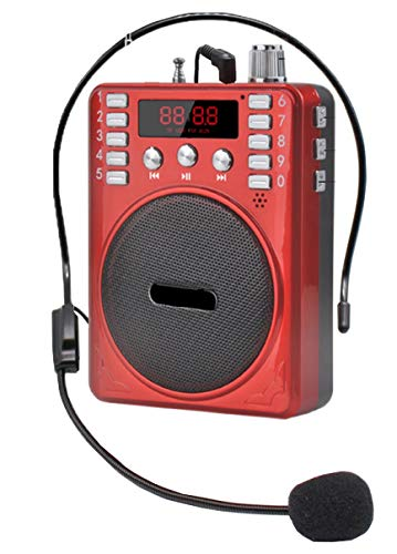 SaleOn Rechargeable Portable Multimedia Multifunction Speaker Megaphone with Wired Microphone Loudspeaker Headset for Trainer and FM Radio TF Micro SD Card USB Input Jack Voice Recording (Red) -467