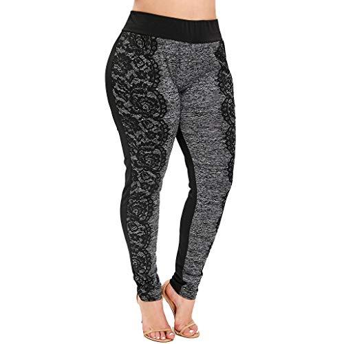 RISTHY Mallas Leggins Mujer Fitness Tallas Grandes Pantalones Largos Deporte Cintura Alta Encaje Correr Yoga Deportivo Pilates Delgazada Deportivos Elásticos Pantalones para Dormir