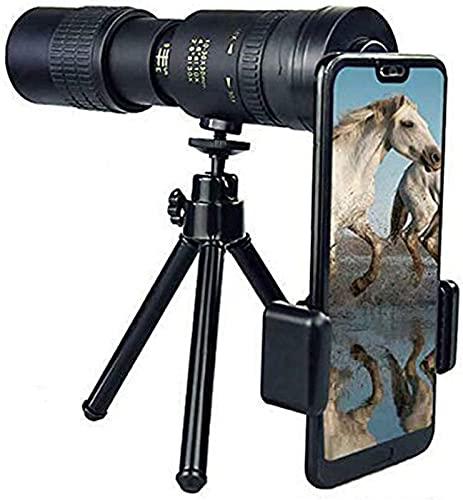 ZJDM LOPP 4K 10-300X40mm Super-Telezoom-Monokular-Teleskop mit Smartphone-Halter und Stativ für Strandreisen Vogelbeobachtung Camping Wandern