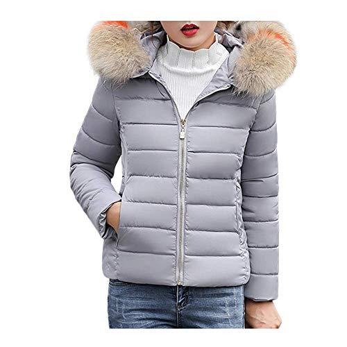 2019 - Abrigo Corto con Cremallera para Mujer, cálido y cálido, con Capucha, Elegante y Fino, para Mujer