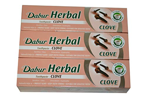 3x Dabur Herbal Clove 100ml Zahnpasta mit Nelke Zahnpflege 300ml