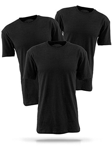 Basic T-Shirt Herren schwarz mit Rundhals - 3er Pack Shirts aus Baumwolle einfarbig (L, schwarz)