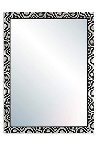 Chely Intermarket, Espejo de Pared Cuerpo Entero 60x80cm(69x89cm)/Negro-plata/Mod-144, Ideal para peluquerías, salón, Comedor, Dormitorio y oficinas. Fabricado en España. Material Madera.