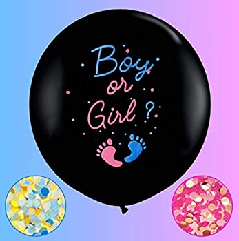 Jumbo Gender Reveal Confetti Balloons 2pcs 36  Black Boy or Girl Balloon Come with Blue Pink Confetti for Baby Gender Reveal Party Idea