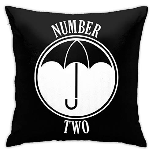 HONGYANW - Funda de almohada con diseño de paraguas y número dos, impresión de doble cara, funda de almohada con cremallera oculta, hermosa funda de almohada de 45,7 x 45,7 cm